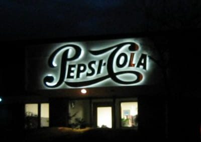 Illuminated Letters Pepsi Cola Halo Sign
