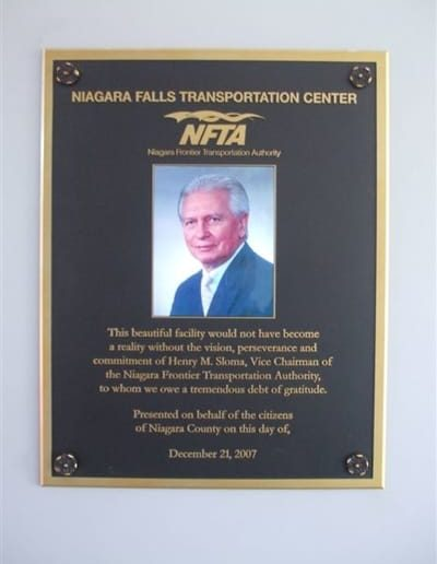Dedication Plaque Niagara Falls Transportation Center