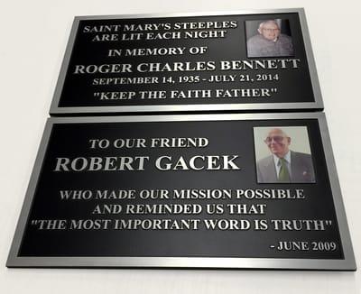 Dedication Display Cast and Carved Plaques Robert Gacek