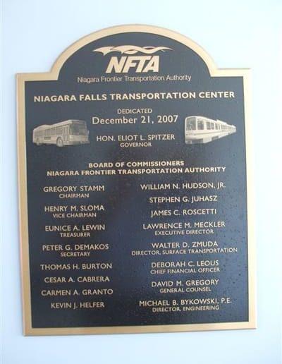 Cast and Carved Plaques Niagara Falls Transportation Center