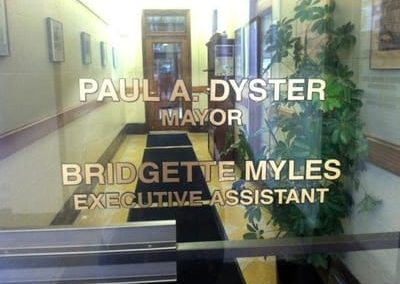 Window Vinyl Graphics Paul A. Dyster Mayor of Niagara Falls, USA