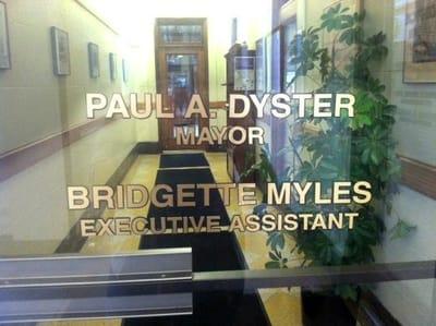 Window Vinyl Graphics Paul A. Dyster Mayor of Niagara Falls, USA
