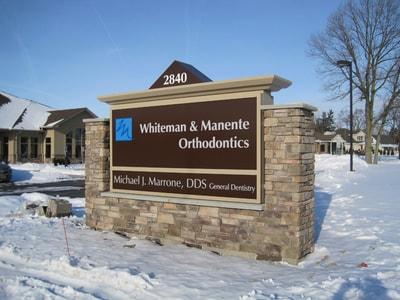 Exterior Illuminated Whiteman and Manente Orthodontics Niagara County Erie County Sign Company NYS WBE Appleton Barker Burt Gasport Lewiston Lockport Middleport Newfane Niagara Falls North Tonawanda Olcott Ransomville Sanborn Wilson