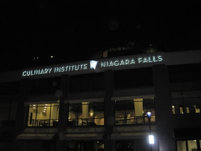 Illuminated Halo Letters Niagara Falls Culinary Institute Niagara County Erie County Sign Company NYS WBE Appleton Barker Burt Gasport Lewiston Lockport Middleport Newfane Niagara Falls North Tonawanda Olcott Ransomville Sanborn Wilson New York State WBE