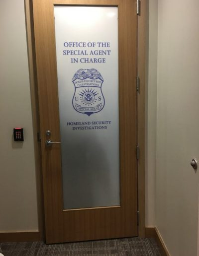 US Homeland Security Vinyl Graphics Digitally Printed Door Graphics Interior Signs Interior Signs Wall Graphics Buffalo, New York Erie County, NY Government Law Enforcement