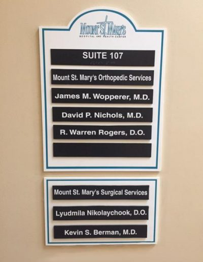 Mt St. Mary's Hospital Styrene Wayfinding Engraved Signs Directory Interior Signs Directories Lewiston, New York Niagara County, NY Medical Hospital