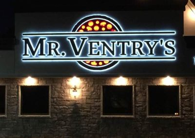 "Mr. Ventry's Aluminum channel letters Halo Lit Reverse Lit Exterior Signs Illuminated Channel Letters Back Lit ""Halo"" Channel Letters Niagara Falls, NY Niagara County, NY Businesses Restaurant"