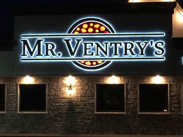 """Mr. Ventry's Aluminum channel letters Halo Lit Reverse Lit Exterior Signs Illuminated Channel Letters Back Lit """"Halo"""" Channel Letters Niagara Falls, NY Niagara County, NY Businesses Restaurant"""