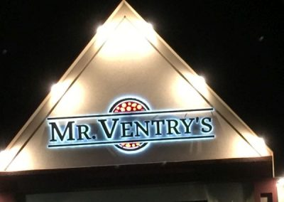 Mr. Ventry's Pizza Illuminated Halo Channel Letters