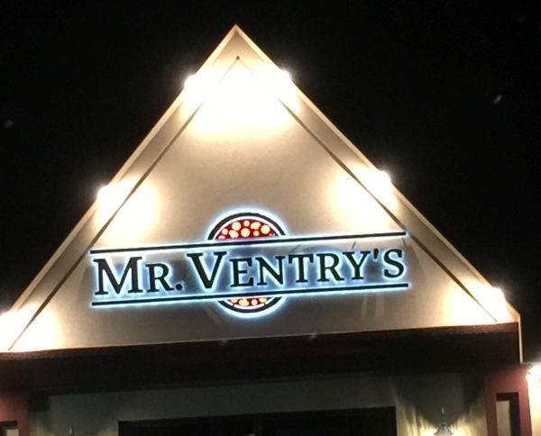 """Mr. Ventry's Stainless Steel channel letters Halo Lit Reverse Lit Exterior Signs Illuminated Channel Letters Back Lit """"Halo"""" Channel Letters Niagara Falls, NY Niagara County, NY Businesses Restaurant"""