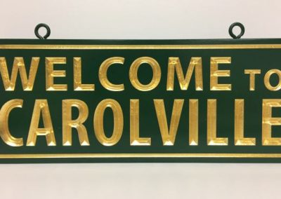Carolville HDU Carved carved sign gold leaf carved wood sign Exterior Signs Non Illuminated Signs Carved Signs New York State Businesses Residential Signs