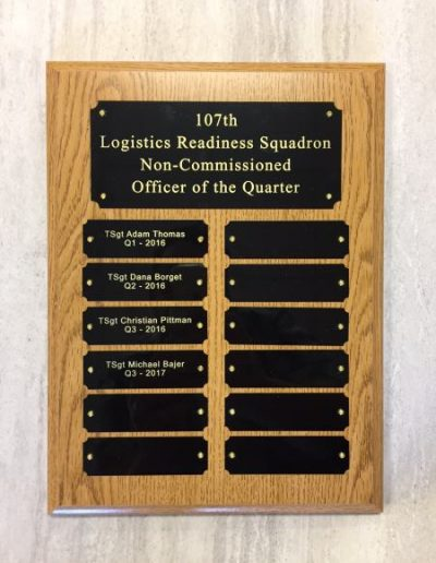 Dedication Plaque Wood, Brass Dedication Plaque Engraved Signs brass plate Interior Signs Plaques Niagara Falls Air Reserve Base Niagara County, NY Government Military Plaque