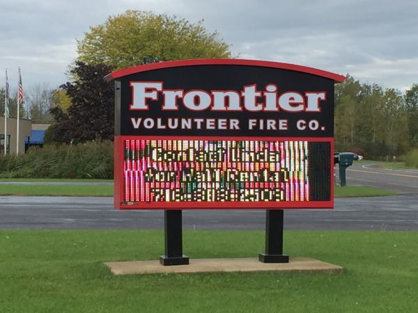 Frontier Fire Company Aluminum LED Message Center Watchfire Post and Panel Exterior Signs Illuminated Signs LED Message Centers Wheatfield, NY Niagara County, NY Fire Company Frontier Fire