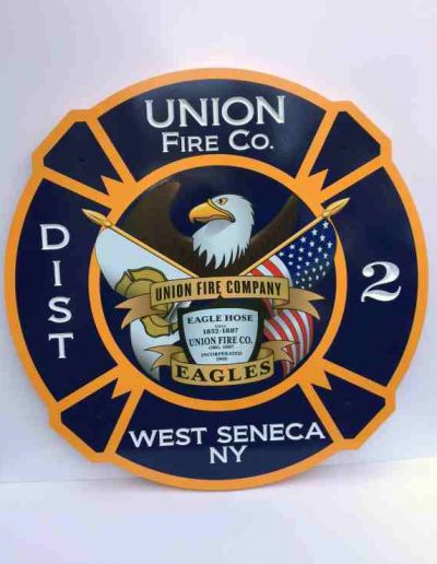 West Seneca Fire HDU Carved carved sign graphic design medallion Exterior Signs Non Illuminated Signs Carved Signs West Seneca, NY Erie County, NY Fire Company West Seneca Fire