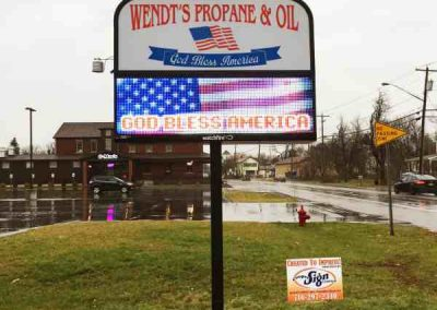 Wendt's Propane Aluminum LED Message Center Watchfire Pole Sign Exterior Signs Illuminated Signs LED Message Centers Sanborn, New York Niagara County, NY Businesses Manufacturing