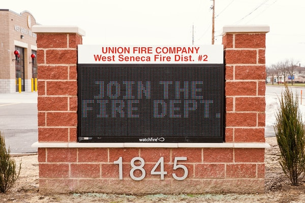 N-49 Union Free Fire Company LED Message Center Watchfire Monument Sign Exterior Signs Illuminated Signs LED Message Centers West Seneca, NY Erie County, NY Organization Fire Company