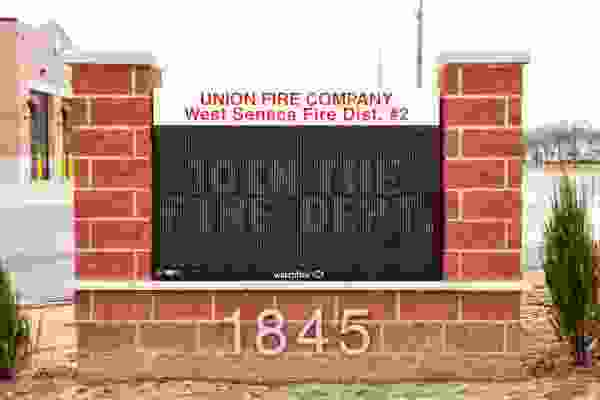 Union Free Fire Company LED Message Center Watchfire Monument Sign Exterior Signs Illuminated Signs LED Message Centers West Seneca, NY Erie County, NY Organization Fire Company