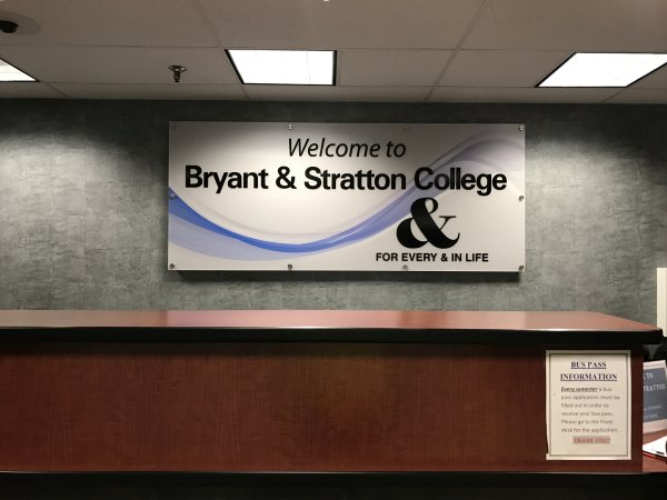 Bryant Straton Reception Acrylic Reception and Lobby Signs Digitally Printed Interior Signs Interior Signs Reception and Lobby Signs Corporate Branding Buffalo, New York Bryant & Straton Education University