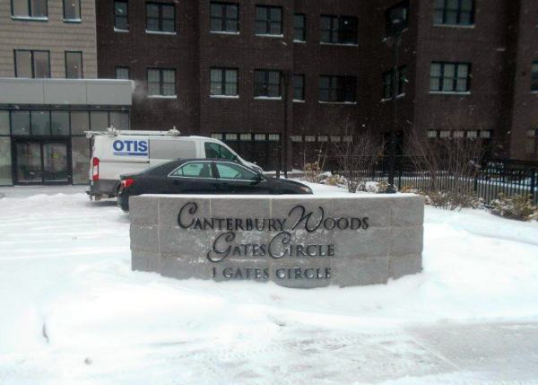 Canterbury Woods Cast Metal Dimensional Letter metal letters Monument Sign Exterior Signs Non Illuminated Signs Dimensional Letters Buffalo, New York Erie County, NY Organization senior housing