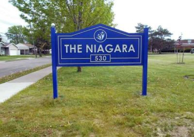 The Niagara HDU Carved carved sign silver leaf Post and Panel Exterior Signs Non Illuminated Signs Carved Signs Niagara Falls, NY Niagara County, NY Organization community center