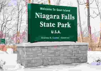 Niagara Falls State Park aluminum Monument Sign vinyl graphic entrance sign Exterior Signs Non Illuminated Signs Monument Signs Niagara Falls, NY Niagara County, NY Government State Park
