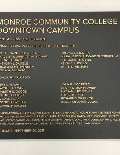 Monroe Community College Bronze Cast Plaque Dedication Plaque Cast Plaque Interior Signs Cast and Etched Plaques Monroe County Monroe CC Education University