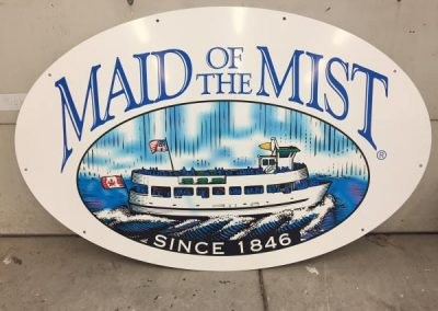 Maid of the Mist aluminum Digitally Printed grafitti proof corpoate branding Exterior Signs Non Illuminated Signs Graffiti Proof Signs Niagara Falls, NY Maid of the Mist business