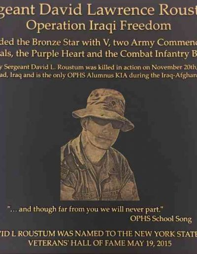 Sgt Roustum Bronze Cast Plaque Dedication Plaque Interior Signs Interior Signs Displays Plaques Government Military Plaque