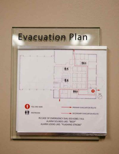 Evacuation Map Acrylic ADA Signs Room Signs Interior Signs Interior Signs ADA and Wayfinding Safety Signs Organization Fire Company