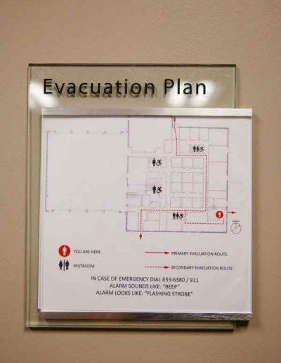 Evacuation Map Acrylic ADA Signs Room Signs Interior Signs Interior Signs ADA and Wayfinding Safety Signs Organization Fire Company