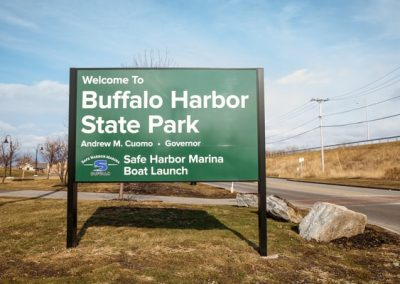 Buffalo Harbor aluminum Post and Panel Digitally Printed Exterior Wayfinding Exterior Signs Non Illuminated Signs Post and Panel Buffalo, New York Erie County, NY Government State Park