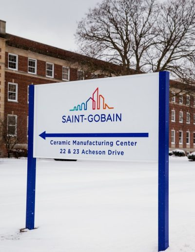 N-84 Saint Gobain aluminum Post and Panel vinyl graphic Exterior Wayfinding Exterior Signs Non Illuminated Signs Post and Panel Wheatfield, NY Niagara County, NY businesses Manufacturing