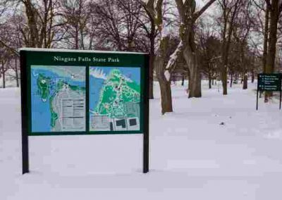Niagara Falls State Park aluminum Digitally Printed graffiti proof wayfinding sign EX-Non Illuminated EX-Post and Panel Niagara Falls, NY Niagara County, NY Government State Park