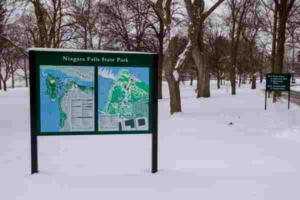 Niagara Falls State Park aluminum Digitally Printed graffiti proof wayfinding sign EX-Non Illuminated EX-Post and Panel Niagara Falls, NY Niagara County, NY Government State Park