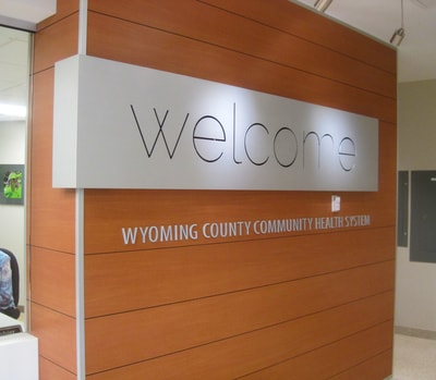 Reception and Lobby Area Sign Wyoming County Community Hospital