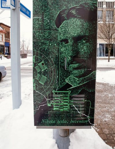 N-57 Tesla digital print Digitally Printed graffiti proof City Street Scape Exterior Signs Non Illuminated Signs Graffiti Proof Signs Niagara Falls, NY Niagara County, NY Government Beautification