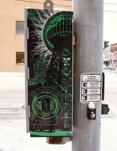 Tesla digital print Digitally Printed graffiti proof City Street Scape Specialty Products Utility Box Wraps Graffiti Proof Signs Niagara Falls, NY Niagara County, NY Government Beautification
