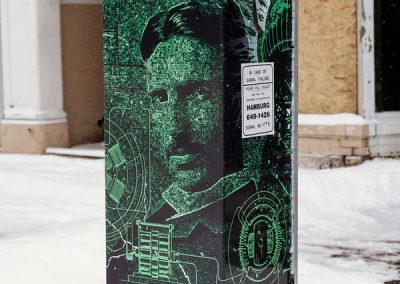 N-61 Tesla digital print Digitally Printed graffiti proof City Street Scape Exterior Signs Non Illuminated Signs Graffiti Proof Signs Niagara Falls, NY Niagara County, NY Government City of Niagara Falls