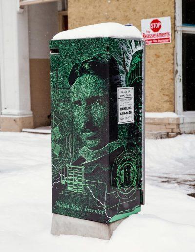 N-61 Tesla digital print Digitally Printed graffiti proof City Street Scape Exterior Signs Non Illuminated Signs Graffiti Proof Signs Niagara Falls, NY Niagara County, NY Government City of Niagara Falls
