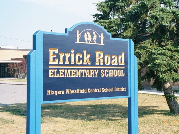 Post and Panel Errick Road Elementary School NYS Certified WBE Sign Company School Districts Buffalo Niagara