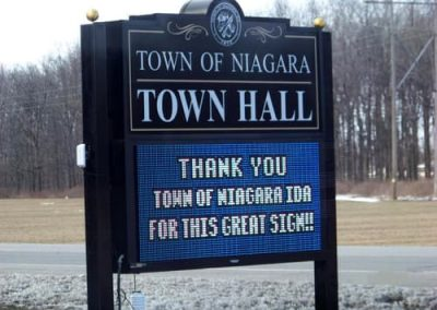 LED Message Centers Town of Niagara Town Hall Post and Panel Sign
