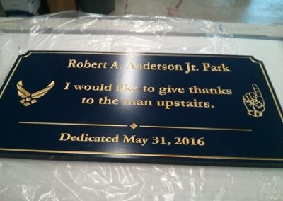 Dedication Plaque Robert A. Anderson Jr. Park