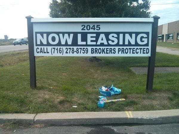 Lawn Exterior Post and Panel Leasing Signs Buffalo Niagara NYS WBE Sign Company Post and Panel Wood Niagara Falls, NY