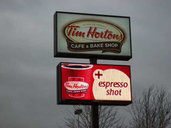 LED Message Center Tim Horton's LED Sign WBE Sign Company Buffalo Niagara