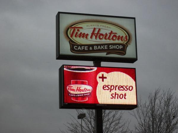 LED Message Center Tim Horton's LED Sign WBE Sign Company Buffalo Niagara