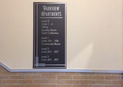 N-107 Parkview Apartments aluminum Cast Plaque Gemini Interior Signs ADA and Wayfinding Cast Plaques
