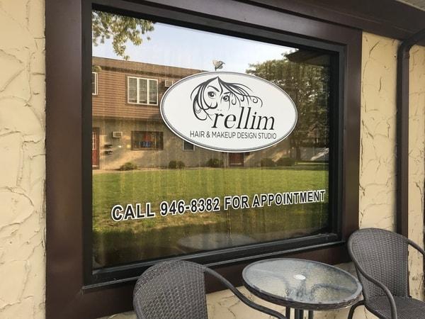 N-224 Rellim Hair Studio Vinyl Graphics Exterior Signs Digitally Printed Signs and Banner Lewiston, New York Niagara County, NY Busness salon