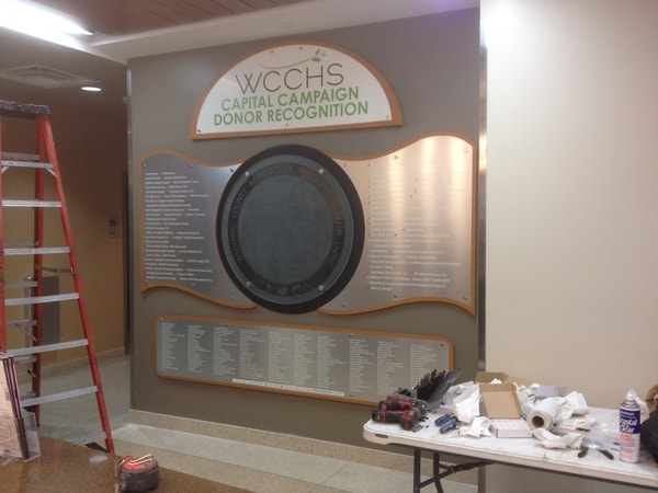 Donor Wall WCCHS Donor Recognition aluminum Interior Signs
