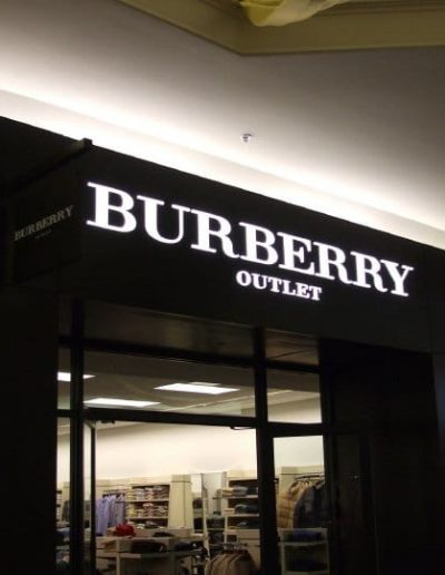 Illuminated Letters Burberry Store Fashion Outlets Mall