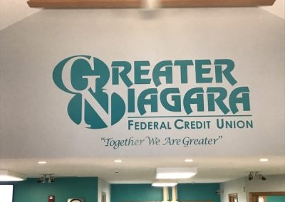 Greater Niagara Federal Credit Union interior Signs vinyl graphics Niagara Falls, NY Niagara County, NY organization